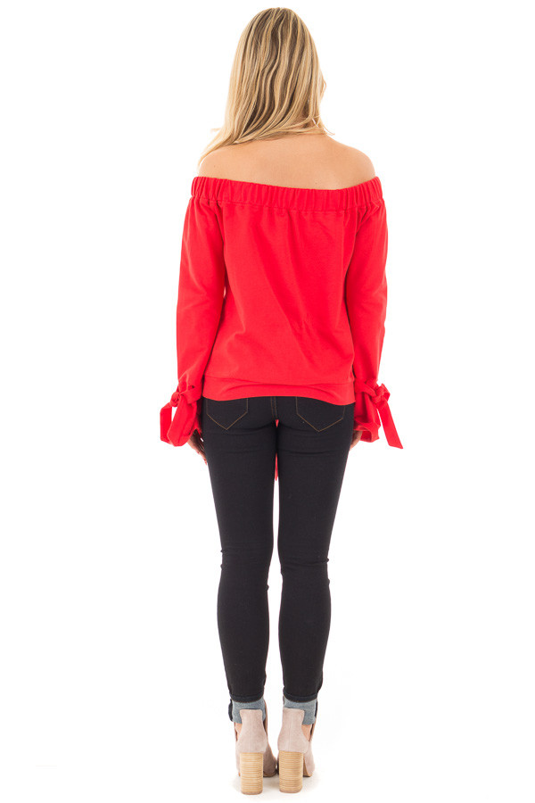 Cherry Red Off the Shoulder Top with Tie Details back full body