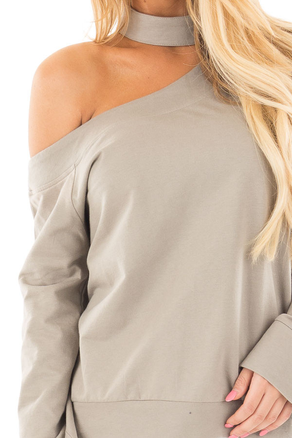 Dusty Sage One Shoulder Wide Sleeve Top with Mock Neck Band detail
