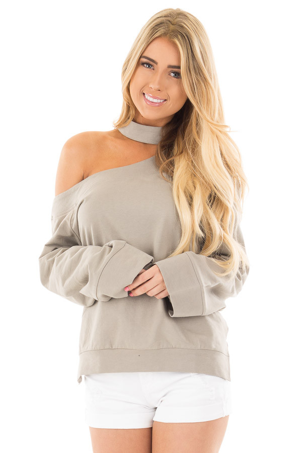 Dusty Sage One Shoulder Wide Sleeve Top with Mock Neck Band front close up