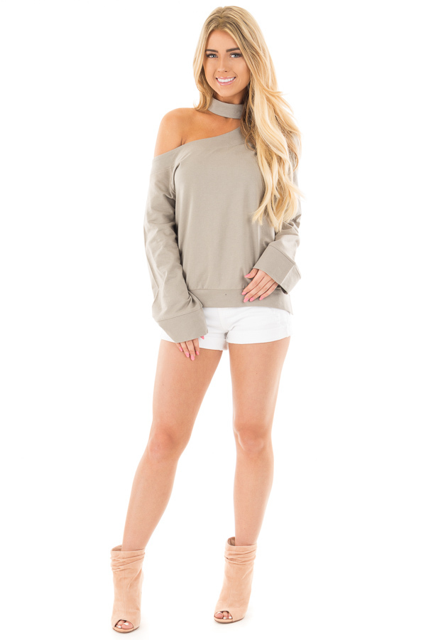 Dusty Sage One Shoulder Wide Sleeve Top with Mock Neck Band front full body