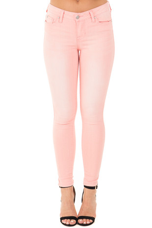 Light Pink Mid Rise Stretch Skinny Jeans front view
