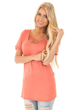 Faded Orange Criss Cross  Short Sleeve Top front close up