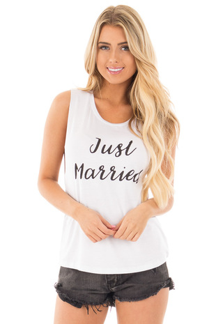 White Cut Off Sleeveless Tee with 'Just Married' Script front close up