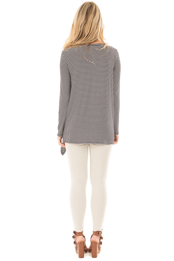 Black Loose Fit Striped Tunic Top with Side Slits back full body