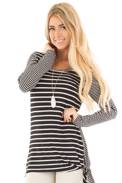 Black Loose Fit Striped Tunic Top with Side Slits front close up