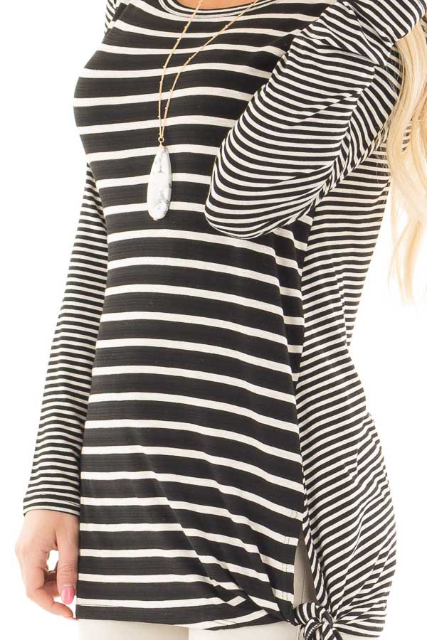 Black Loose Fit Striped Tunic Top with Side Slits detail
