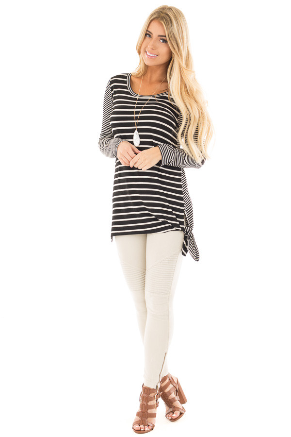 Black Loose Fit Striped Tunic Top with Side Slits front full body