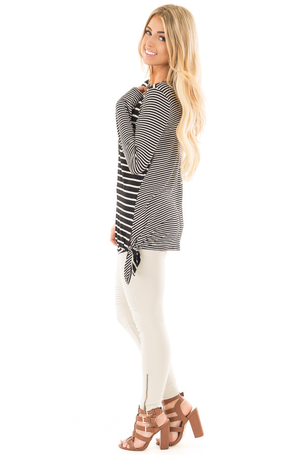 Black Loose Fit Striped Tunic Top with Side Slits side full body