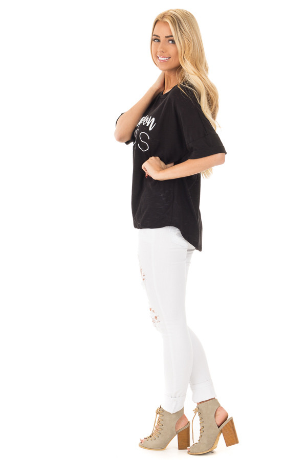 Black Oversized Tee with White 'Honeymoon Vibes' Script side full body