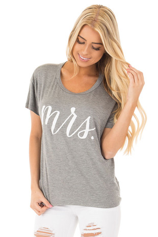 Heather Grey Short Sleeve Tee with White 'Mrs.' Script front close up