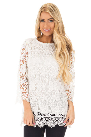 White Crochet 3/4 Sleeve Top with Scalloped Detail front close up