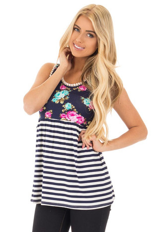 Navy Floral Tank with Striped Contrast  and Crochet Trim front close up