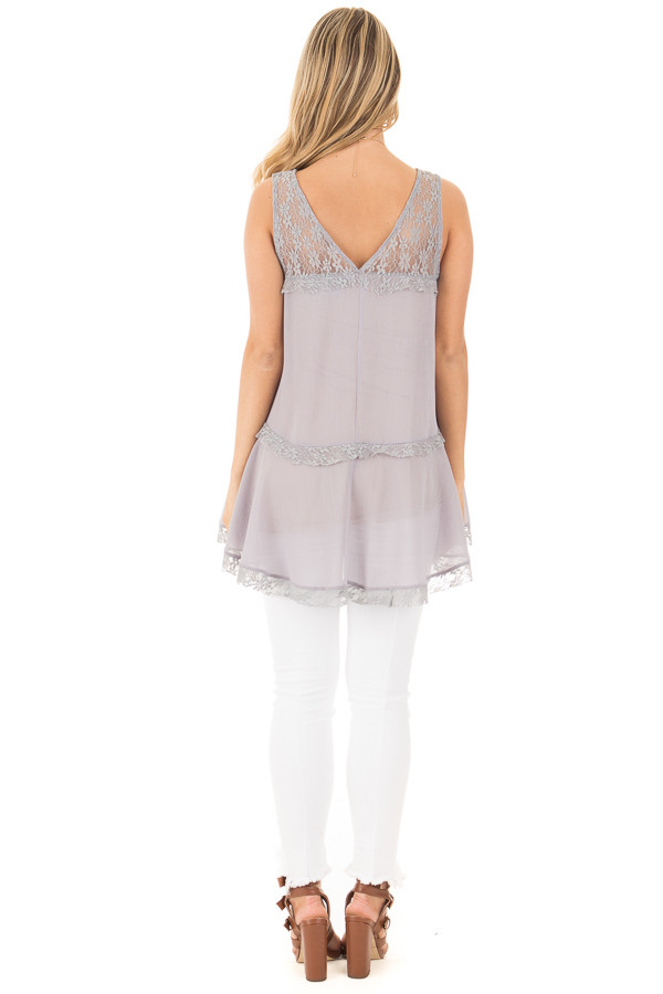 Cloud Grey Crepe Chiffon V Neck Tank with Lace Details back full body
