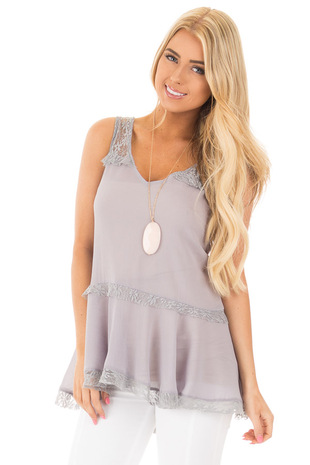 Cloud Grey Crepe Chiffon V Neck Tank with Lace Details front close up