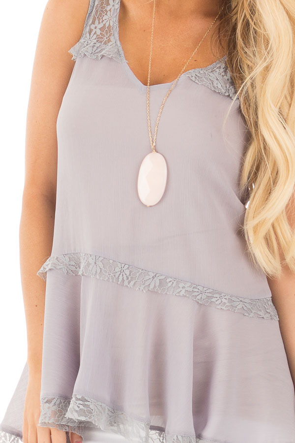 Cloud Grey Crepe Chiffon V Neck Tank with Lace Details detail