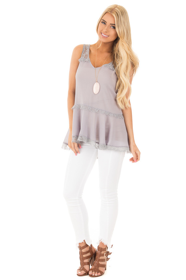 Cloud Grey Crepe Chiffon V Neck Tank with Lace Details front full body