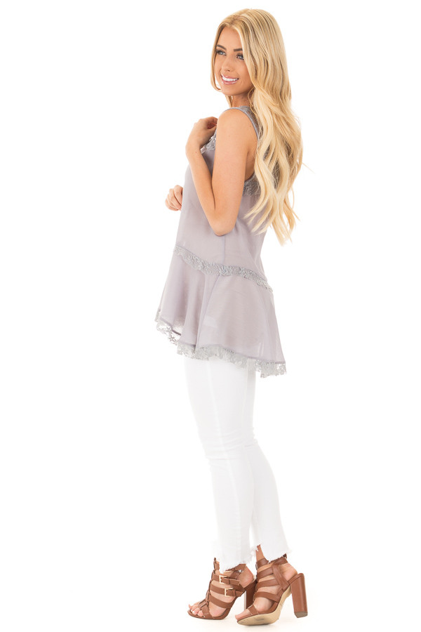 Cloud Grey Crepe Chiffon V Neck Tank with Lace Details side full body