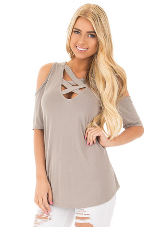 Taupe Reversible Cold Shoulder Cap Sleeve Top with Criss Cross front close up