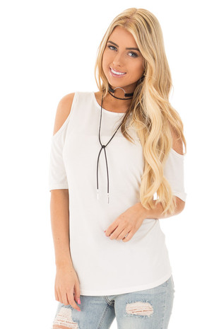White Reversible Cold Shoulder Cap Sleeve Top with Criss Cross front close up