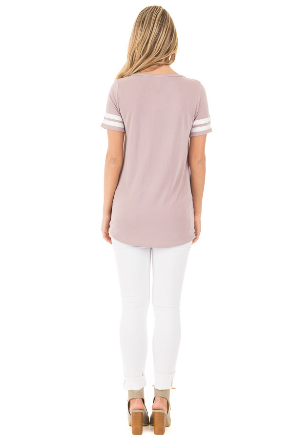 Mauve Scoop Neck Tunic Tee with Striped Sleeve Detail back full body