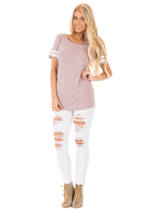Mauve Scoop Neck Tunic Tee with Striped Sleeve Detail front full body