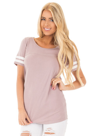 Mauve Scoop Neck Tunic Tee with Striped Sleeve Detail front close up