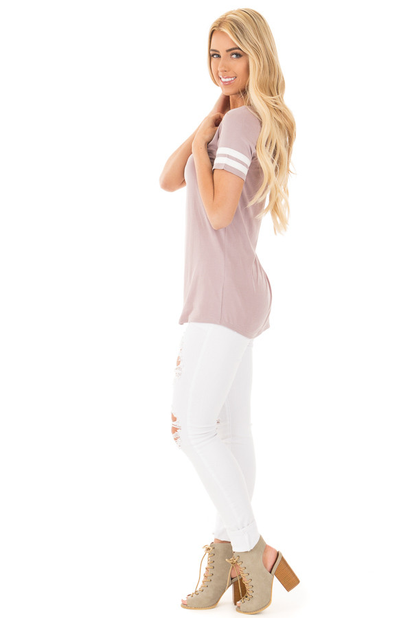 Mauve Scoop Neck Tunic Tee with Striped Sleeve Detail side full body