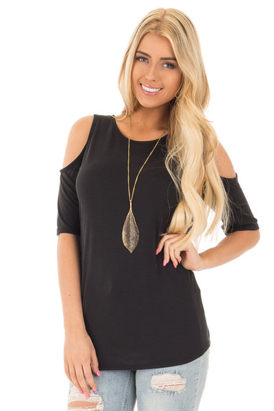 Black Reversible Cold Shoulder Cap Sleeve Top with Criss Cross front close up