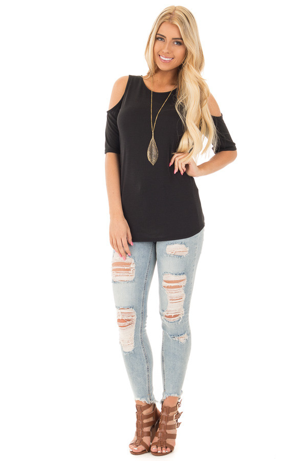 Black Reversible Cold Shoulder Cap Sleeve Top with Criss Cross front full body