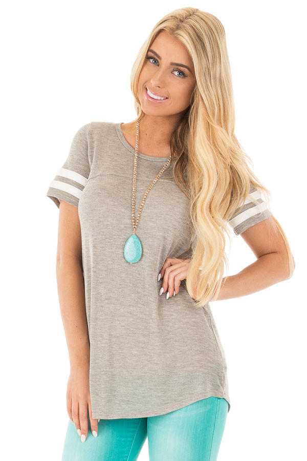 Heather Grey Knit Tunic Tee with Striped Sleeve Detail front close up