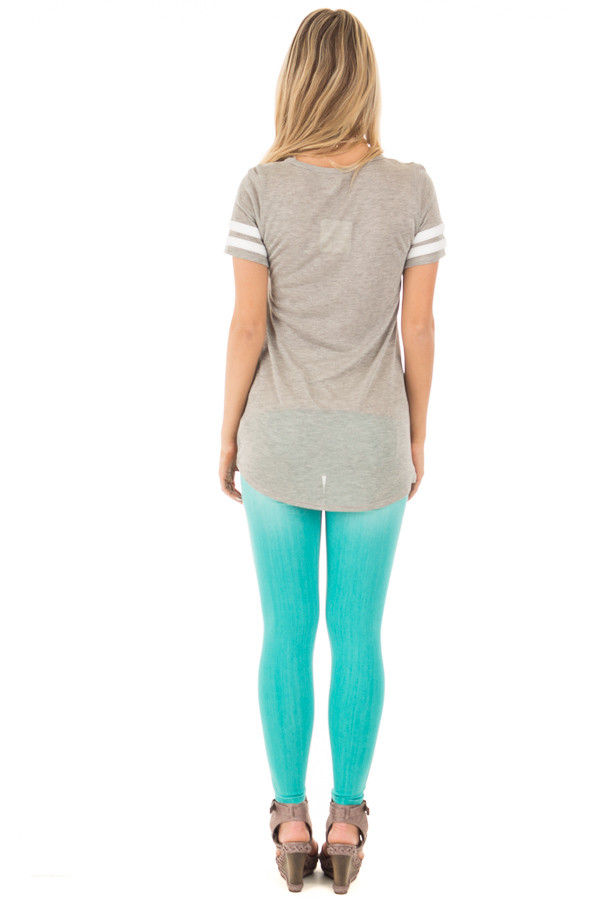 Heather Grey Knit Tunic Tee with Striped Sleeve Detail back full body