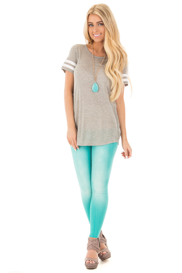 Heather Grey Knit Tunic Tee with Striped Sleeve Detail front full body