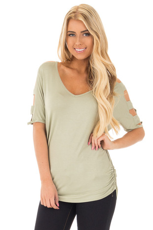 Sage 3/4 Ladder Cut Out Sleeves with Ruched Sides front close up