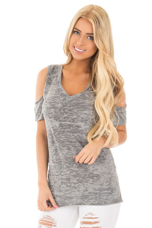 Heather Grey Two Tone Cold Shoulder V Neck Tee front close up