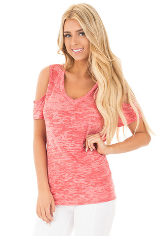 Faded Ruby Two Tone Cold Shoulder V Neck Tee front close up