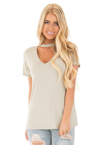 Faded Sage Mock Neck Deep Keyhole Top front close up