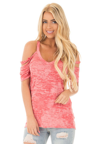 Faded Ruby Two Tone Strappy Cold Shoulder V Neck Tee front close up
