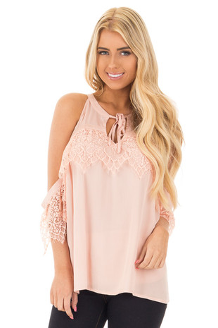Blush Cold Shoulder Halter Top with Lace Trim Detail front close up