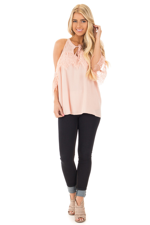 Blush Cold Shoulder Halter Top with Lace Trim Detail front full body