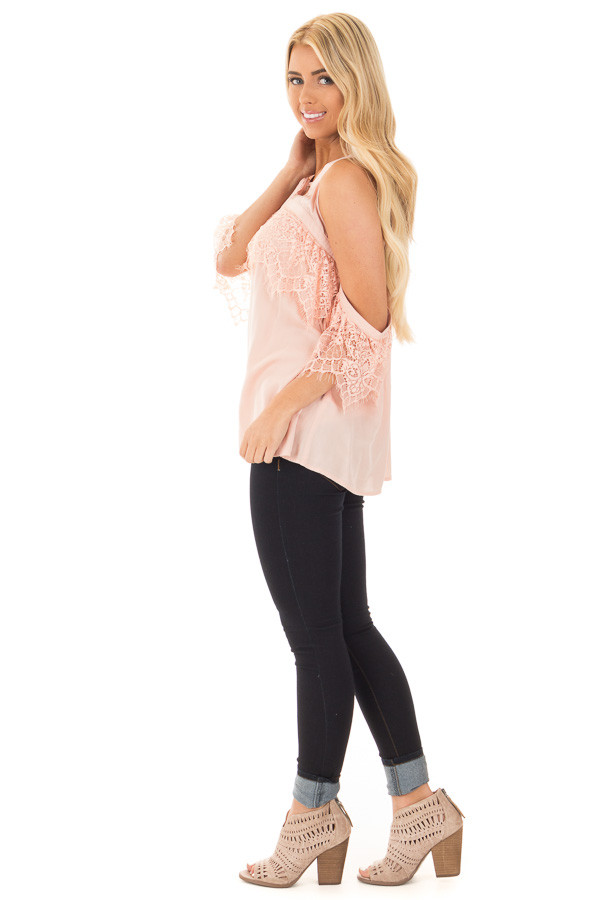 Blush Cold Shoulder Halter Top with Lace Trim Detail side full body