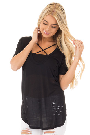 Black Distressed Tee with Deep Criss Cross Neckline front close up