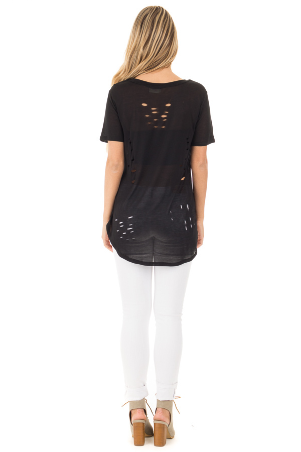 Black Distressed Tee with Deep Criss Cross Neckline back full body