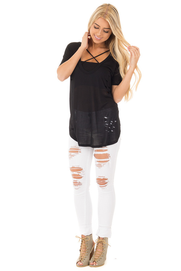 Black Distressed Tee with Deep Criss Cross Neckline front full body