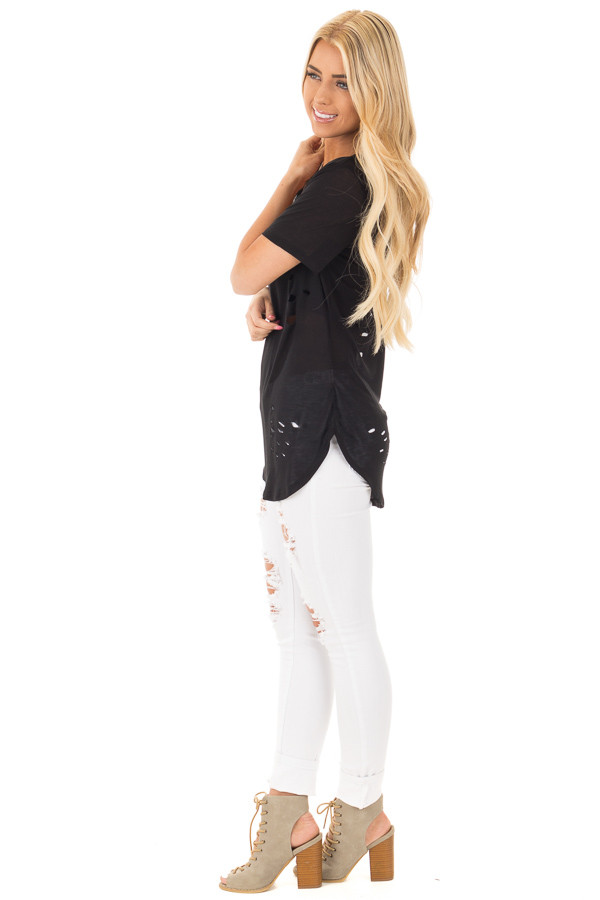 Black Distressed Tee with Deep Criss Cross Neckline side full body