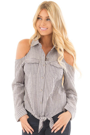 Navy Striped Cold Shoulder Button Down Top with Tie Detail front close up