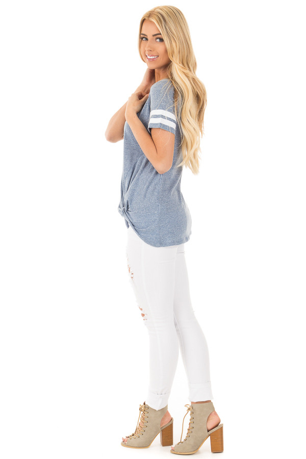 Denim Blue White Striped Cap Sleeve Top with Twist Detail side full body