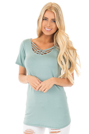 Dusty Seafoam Short Sleeve Double Criss Cross Top front close up