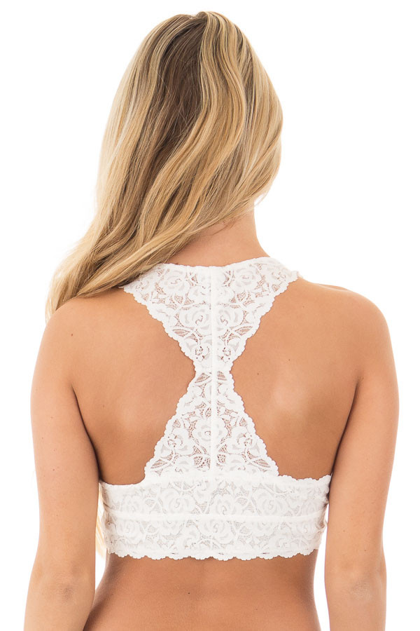 Ivory Racerback Floral Lace Bralette back view