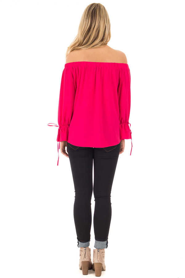 Berry Off the Shoulder Top with Bell Bow Sleeves back full body