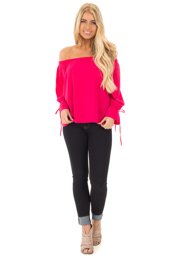 Berry Off the Shoulder Top with Bell Bow Sleeves front full body